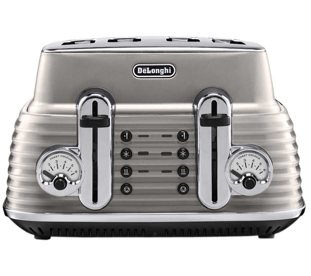 DELONGHI  Scultura CTZ4003BG 4-Slice Toaster - Champagne +  Scultura ECZ351BG Espresso Machine - Champagne