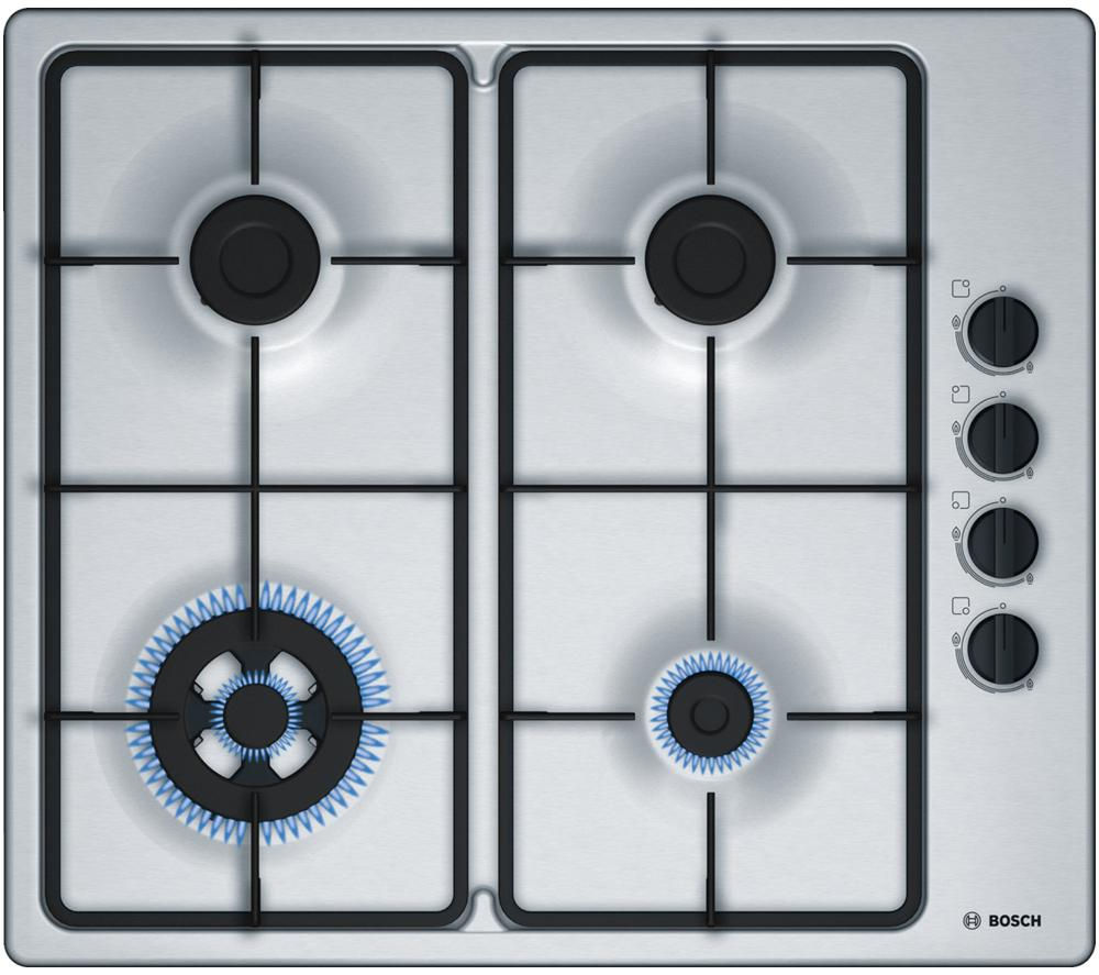BOSCH  PBH6B5B60 Gas Hob - Stainless Steel +  Classixx DWA064W51B Chimney Cooker Hood - Stainless Steel
