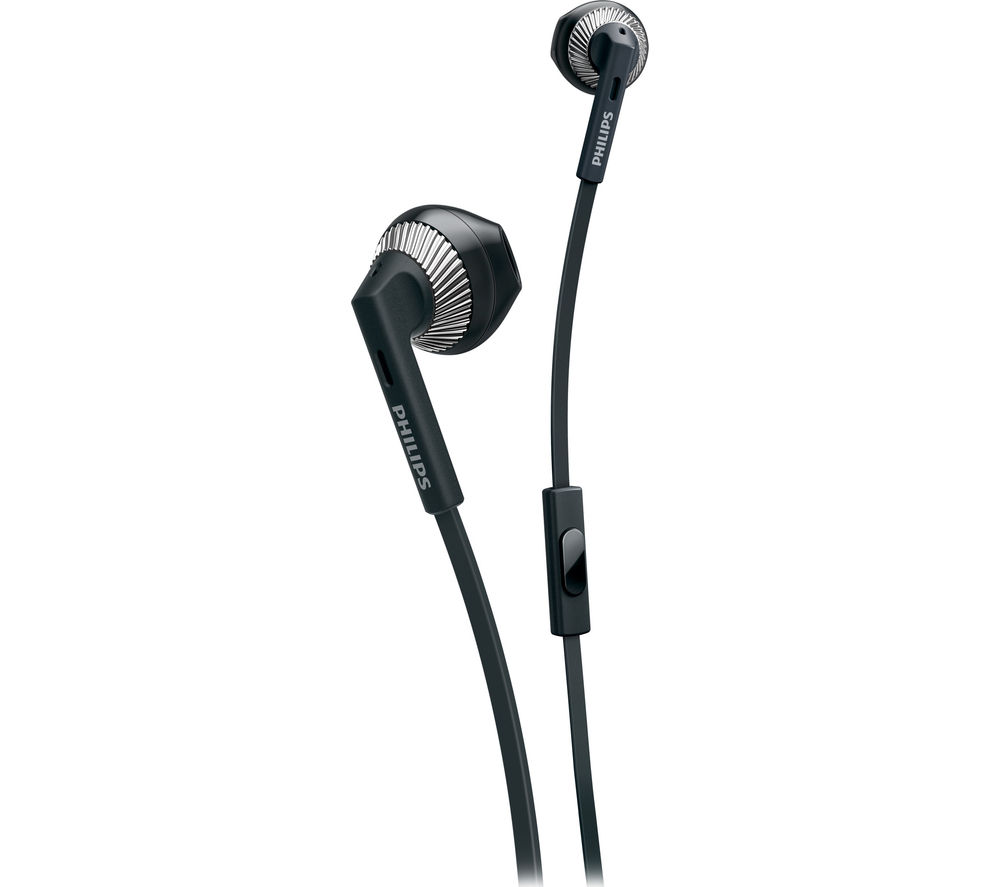 PHILIPS SHE3205BK Headphones - Black + iPhone 7 Lightning to 3.5 mm Headphone Jack Adapter