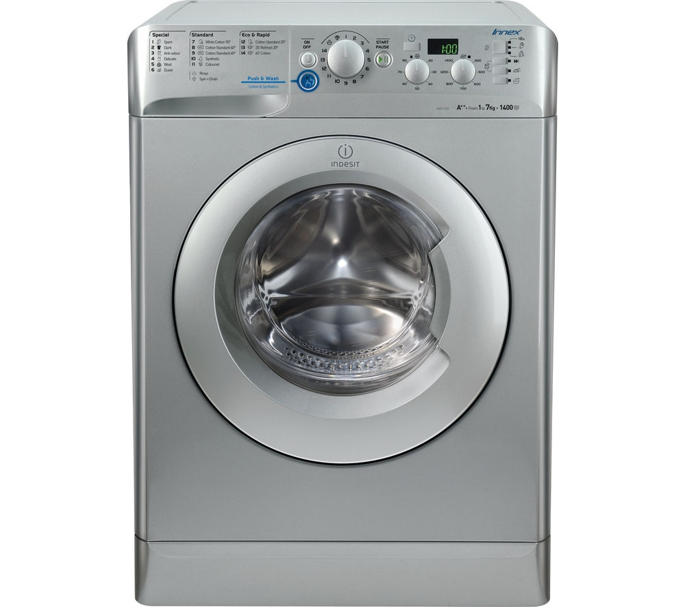 Image of INDESIT XWD71452S Washing Machine - Silver, Silver