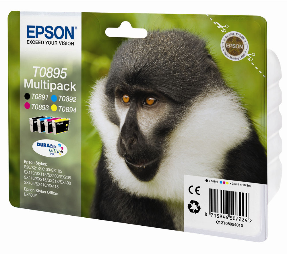 EPSON Monkey T0895 Cyan, Magenta, Yellow & Black Ink Cartridges - Multipack