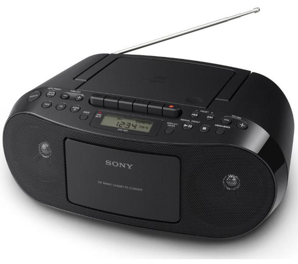 Sony CFDS50B Portable Stereo  BlackSony CFDS50B Compact CD and Cassette Player with FMAM Radio Black