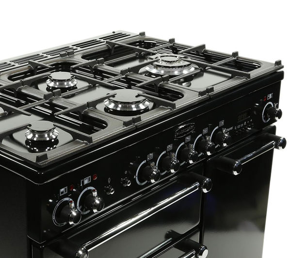 Buy rangemaster kitchener 90 dual fuel range cooker black classic splashb - Falcon kitchener 90 inox ...