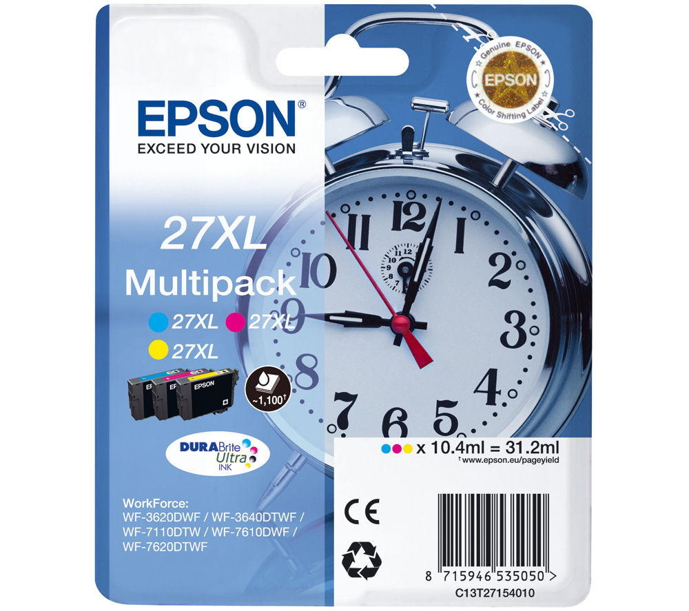 EPSON Alarm Clock 27XL Cyan, Magenta & Yellow Ink Cartridges - Multipack