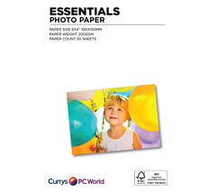 ESSENTIALS 100 x 150 mm Photo Paper - 30 Sheets