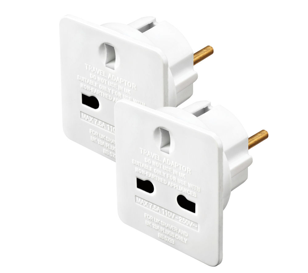 MASTERPLUG TAEUR/2-MP UK to EU Travel Adapter - Twin Pack