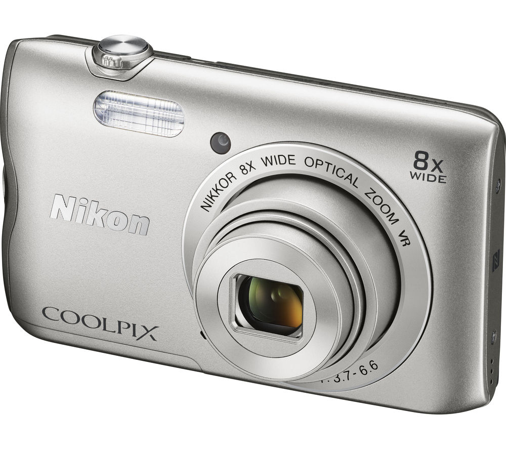 NIKON COOLPIX A300 Compact Camera - Silver + Extreme Plus Class 10 SD Memory Card Twin Pack - 16 GB