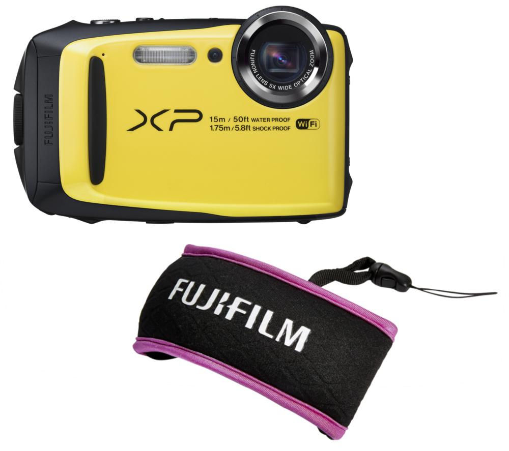 FUJIFILM XP90 Tough Compact Camera & XP Float Strap Yellow & Purple Bundle