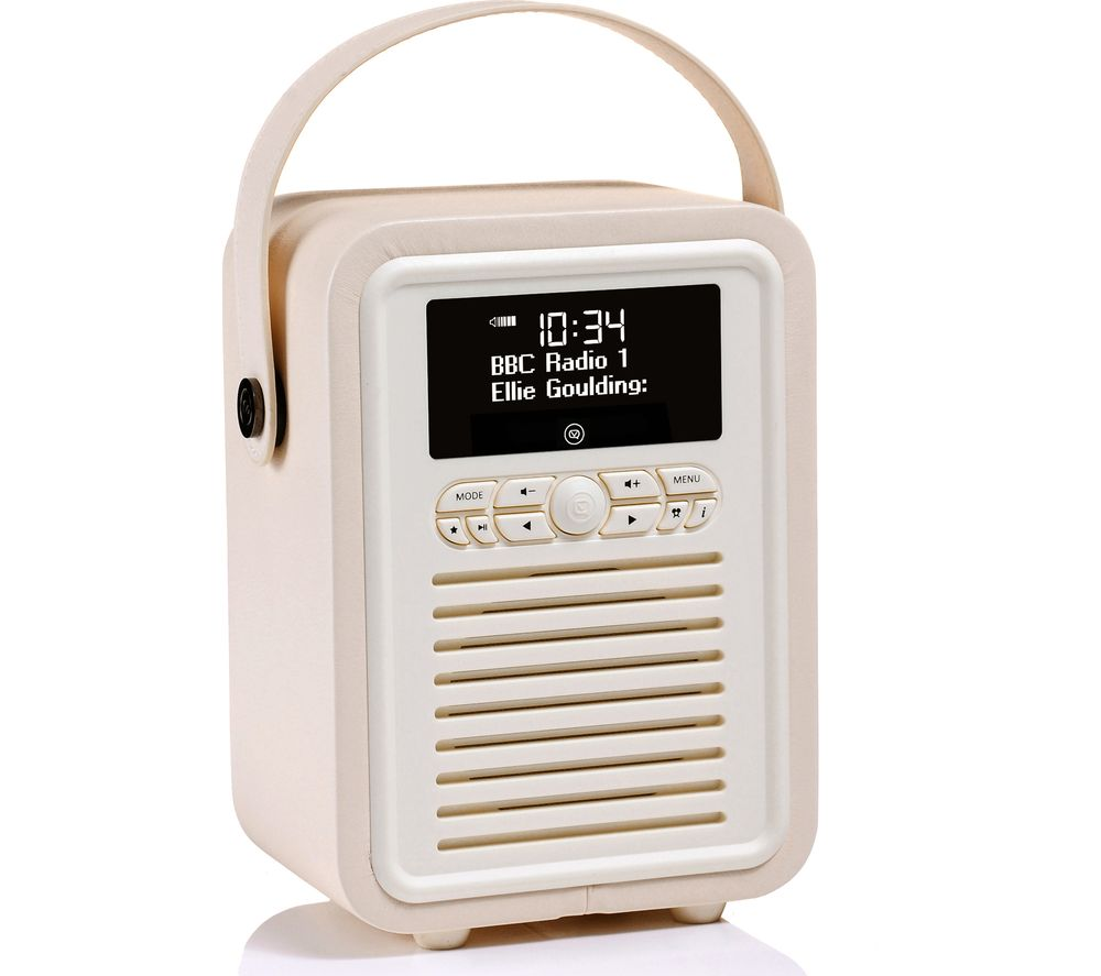buy vq retro mini portable dab fm bluetooth clock radio cream free delivery currys. Black Bedroom Furniture Sets. Home Design Ideas