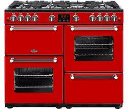 BELLING Kensington 100G Gas Range Cooker - Red & Chrome
