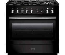 RANGEMASTER Professional+ FX 90 Dual Fuel Range Cooker - Gloss Black & Chrome