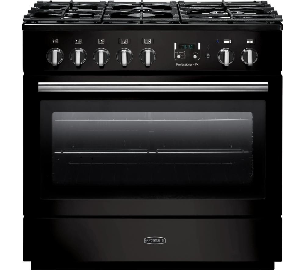 RANGEMASTER Professional+ FX 90 Dual Fuel Range Cooker - Gloss Black & Chrome