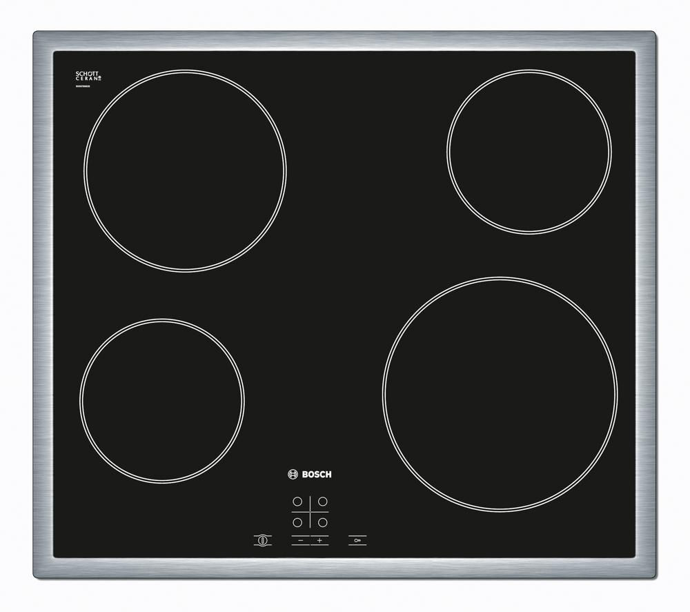 BOSCH PKE645D17 Ceramic Hob – Black + DWW06W450B Chimney Cooker Hood – Stainless Steel