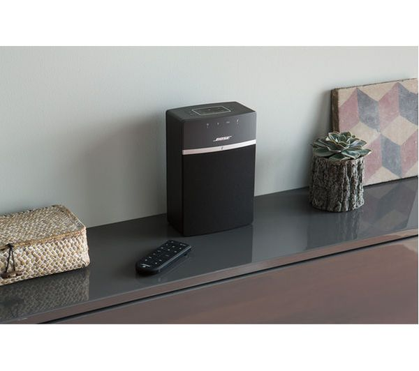 buy bose soundtouch 10 wireless smart sound multi room speakers set of 2 black free. Black Bedroom Furniture Sets. Home Design Ideas