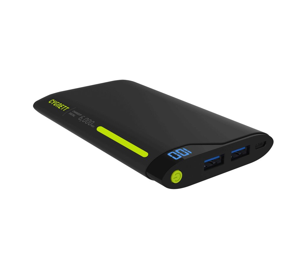 CYGNETT  ChargeUp 6000K Portable Power Bank - Black & Green, Black