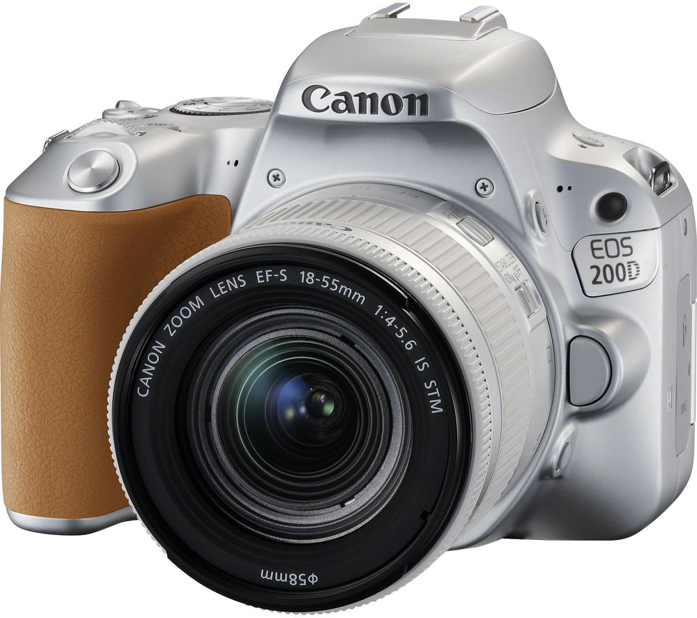 Image of CANON EOS 200D DSLR Camera with EF-S 18-55 mm f/4-5.6 DC Lens - Silver, Silver