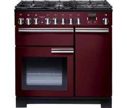 RANGEMASTER Professional Deluxe 90 Dual Fuel Range Cooker - Cranberry & Chrome