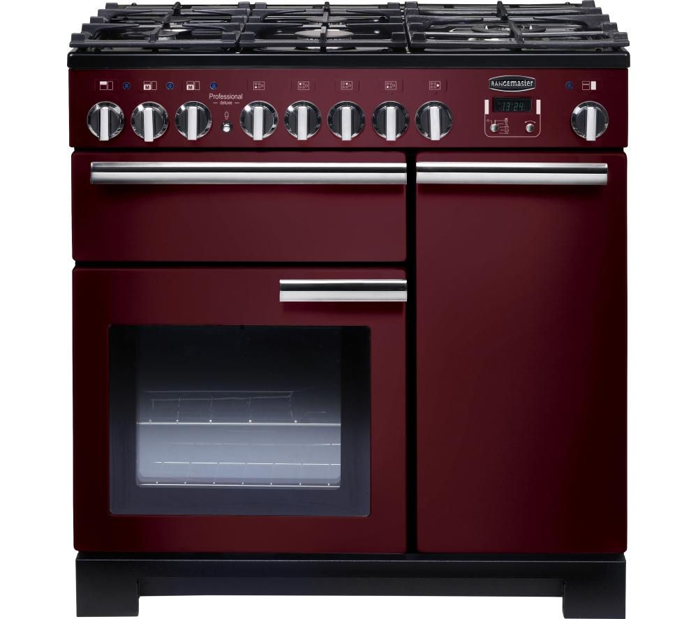 RANGEMASTER  Professional Deluxe 90 Dual Fuel Range Cooker  Cranberry & Chrome Cranberry