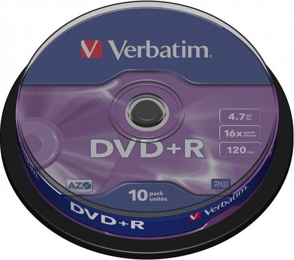 VERBATIM  16x Speed DVD Blank DVDs - Pack of 10