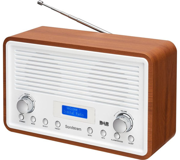 buy sandstrom sdr15 dab fm clock radio walnut white free delivery currys. Black Bedroom Furniture Sets. Home Design Ideas