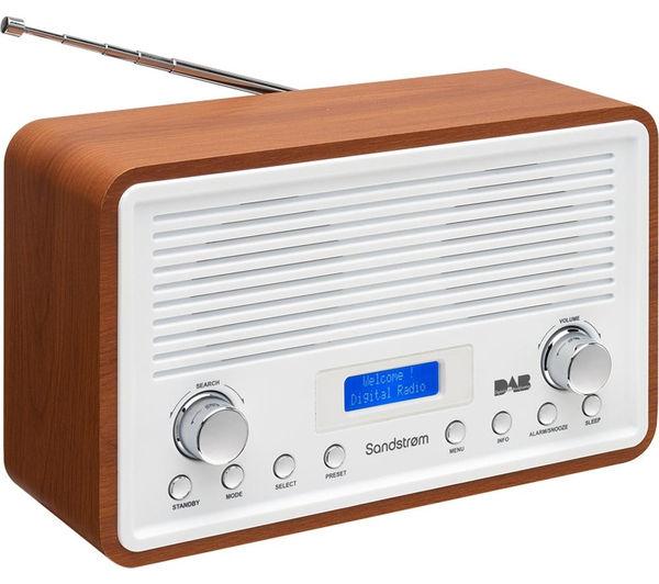 buy sandstrom sdr15 dab fm clock radio walnut white. Black Bedroom Furniture Sets. Home Design Ideas