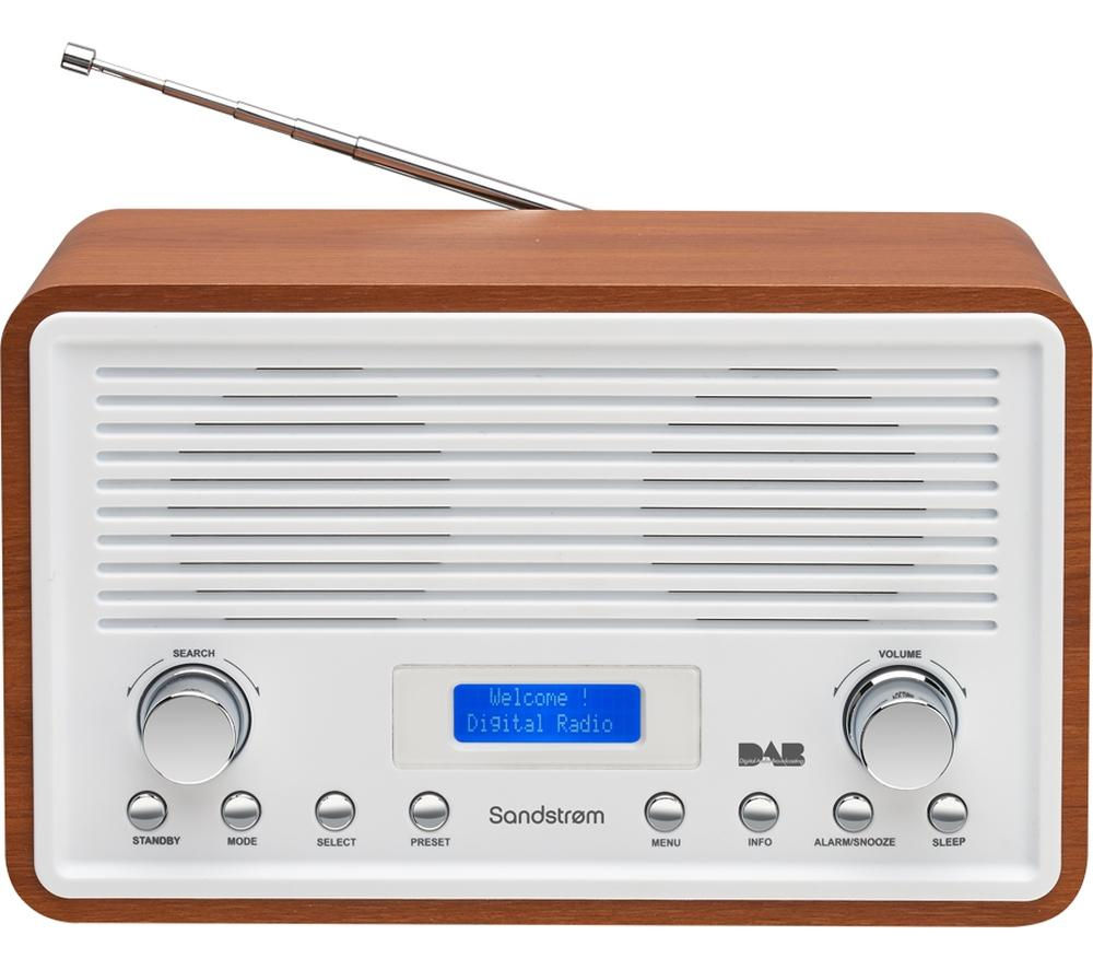 Sandstorm SDR15 DAB Clock FM Radio - Walnut & White