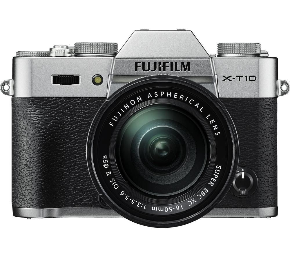 FUJIFILM X-T10 Compact System Camera with XC 16-50 mm f/3.5-5.6 OIS MKII Zoom Lens - Silver