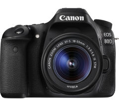 CANON EOS 80D DSLR Camera with 18-55 mm f/3.5-5.6 IS STM Zoom Lens - Black