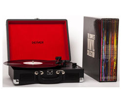 DENVER The Complete Vinyl Collection Portable USB Turntable with 20 Vinyl Records - Black