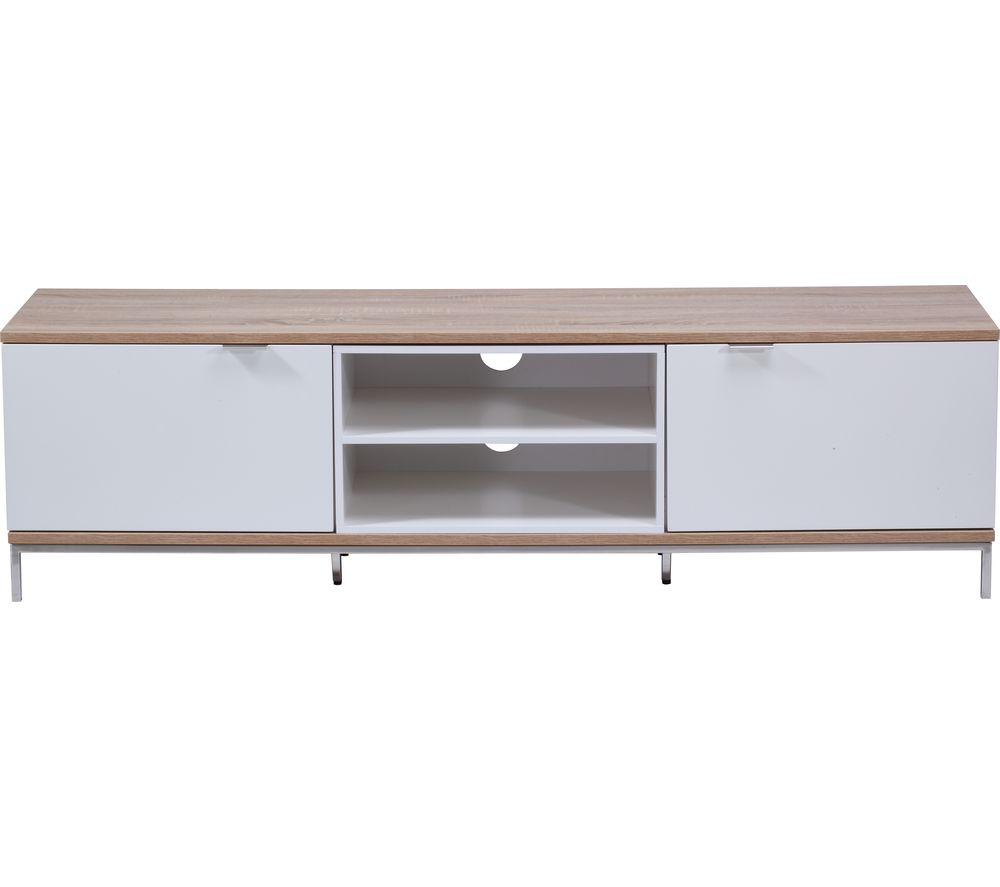 ALPHASON  Chaplin 1600 TV Stand  White & Light Oak White