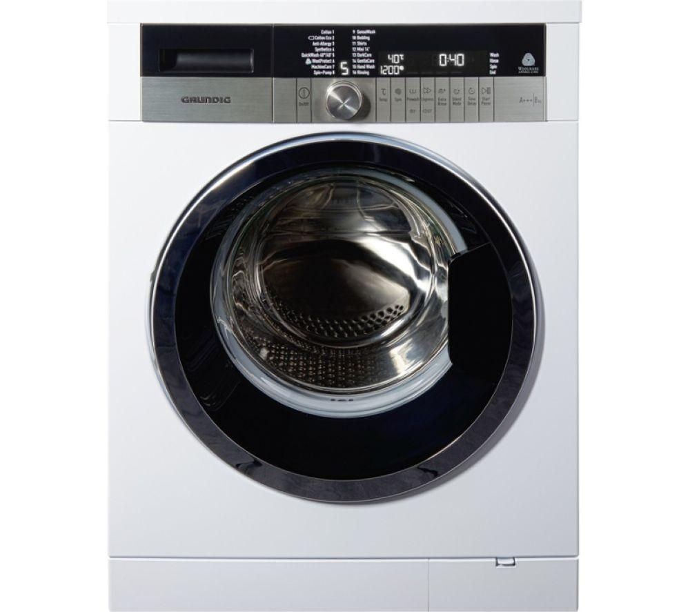 GRUNDIG  GWN48430CW Washing Machine - White +  T65170AV Vented Tumble Dryer - White