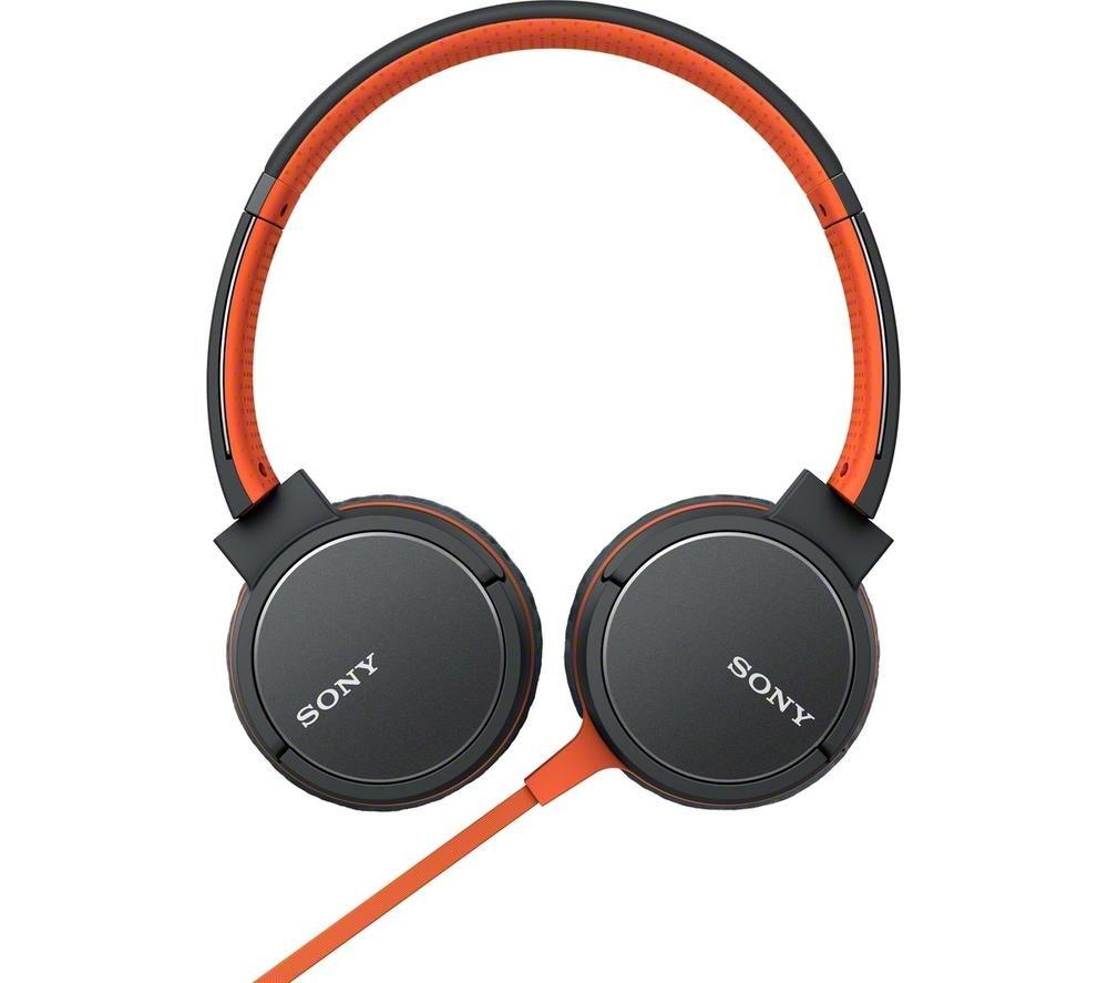 SONY MDR-ZX660AP Headphones - Orange + iPhone 7 Lightning to 3.5 mm Headphone Jack Adapter