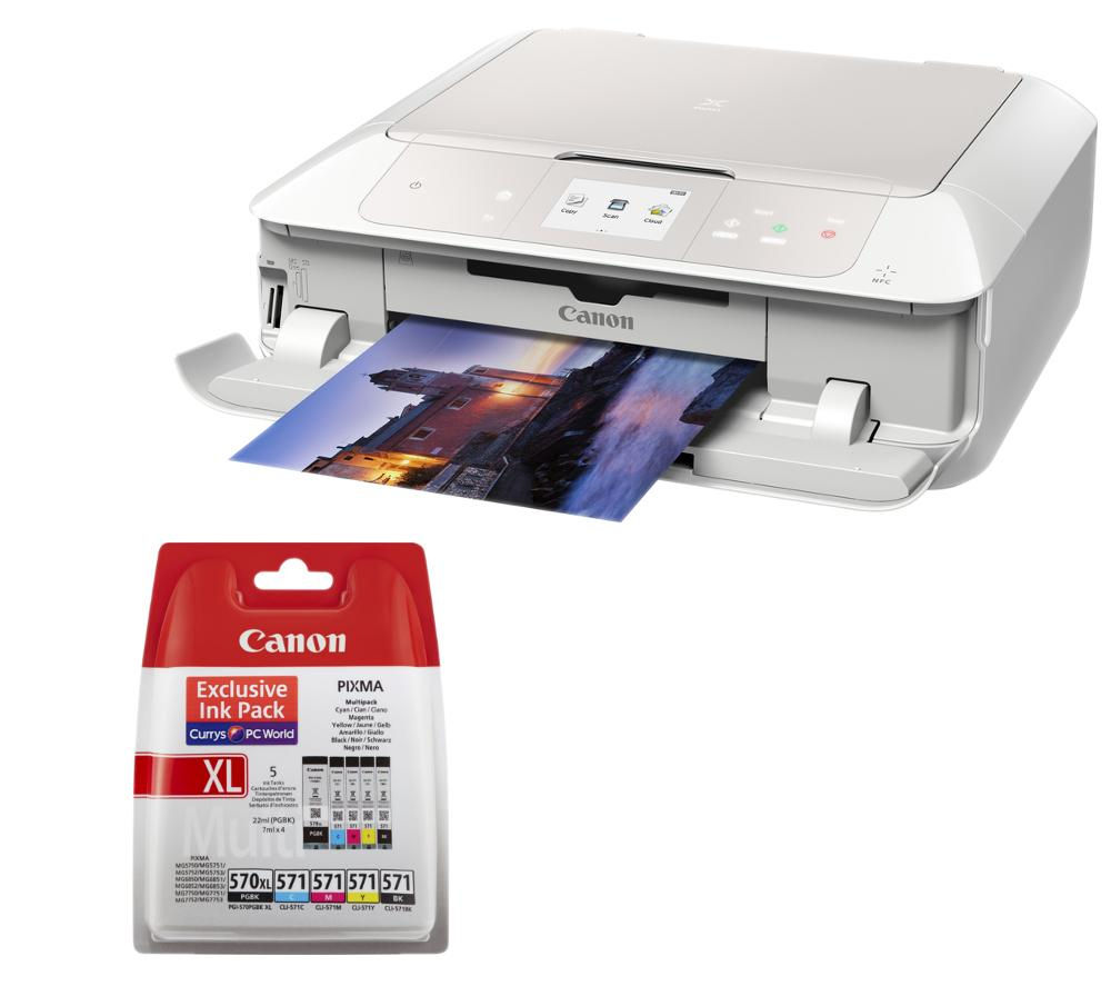 Image of Canon PIXMA MG7751 All-in-One Wireless Inkjet Printer & PGI570XL/571 Ink Cartridges Bundle