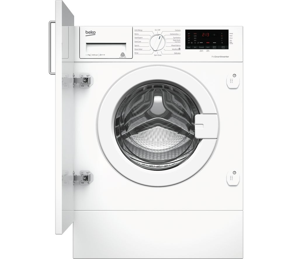 BEKO WIX765450 Integrated 7 kg 1600 Spin Washing Machine ...