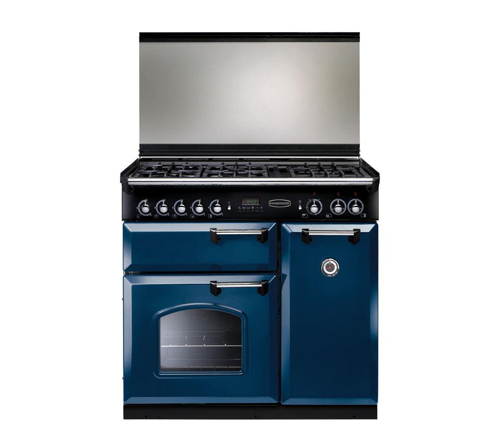 Image of Rangemaster Classic 90 Dual Fuel Range Cooker - Blue & Chrome, Blue
