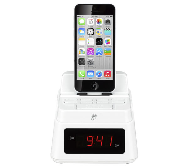 goji gcrliw14 analogue clock radio with lightning connector white deals pc world. Black Bedroom Furniture Sets. Home Design Ideas