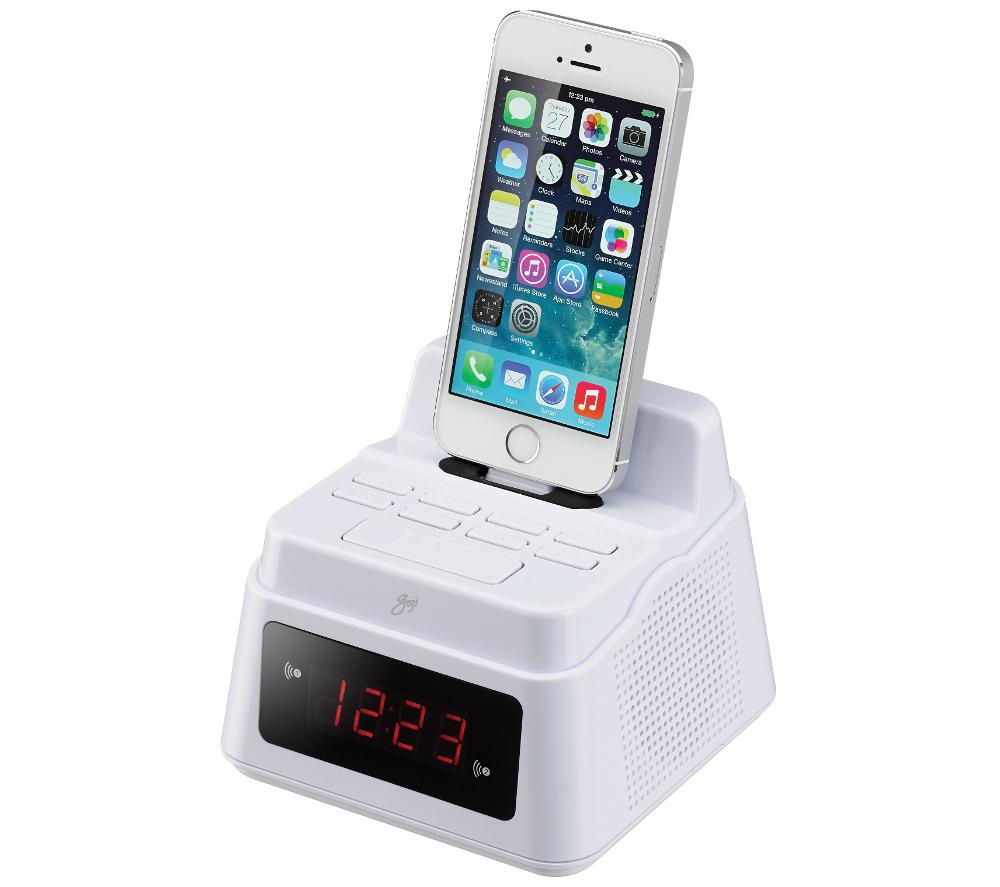 buy goji gcrliw14 analogue clock radio with lightning connector white free delivery currys. Black Bedroom Furniture Sets. Home Design Ideas
