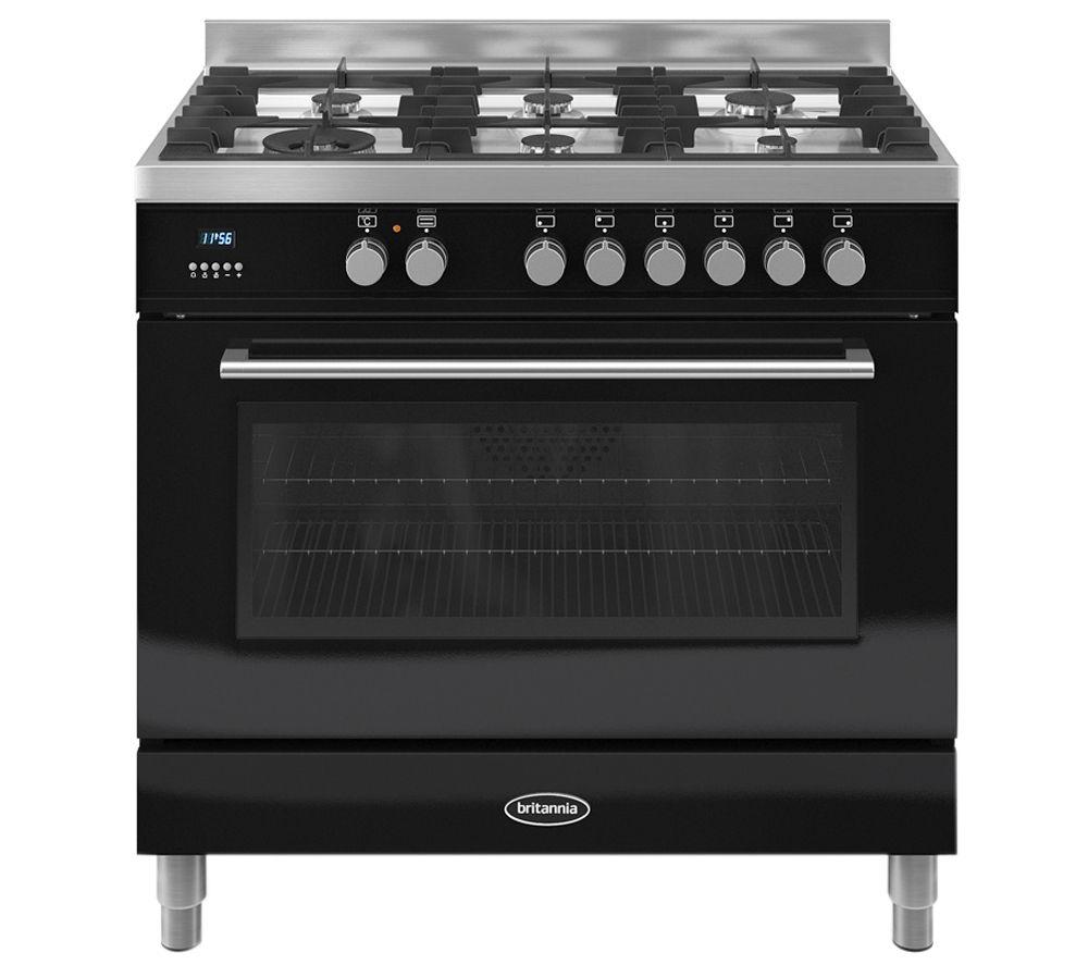 BRITANNIA  Q Line 90 Dual Fuel Range Cooker  Black Black