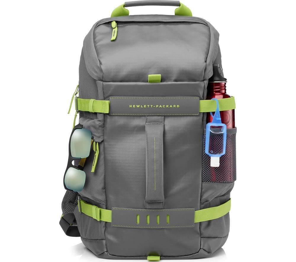 "Image of HP Odyssey 15.6"" Laptop Backpack - Grey & Green, Grey"