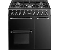 SMEG BM93BL 90 cm Dual Fuel Range Cooker - Black & Stainless Steel