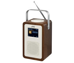 JVC RA-D57 Portable DAB+ Clock Radio - Wood & Cream