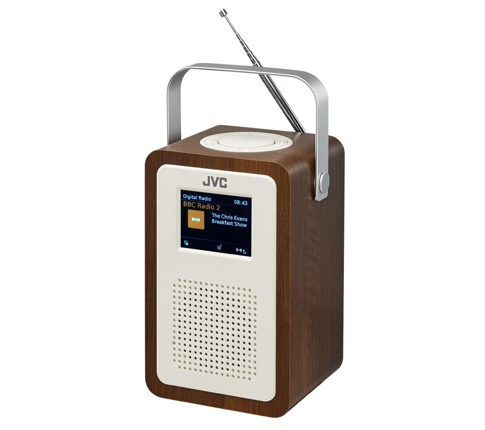 Click to view more of JVC  RA-D57 Portable DAB Clock Radio - Wood & Cream, Cream