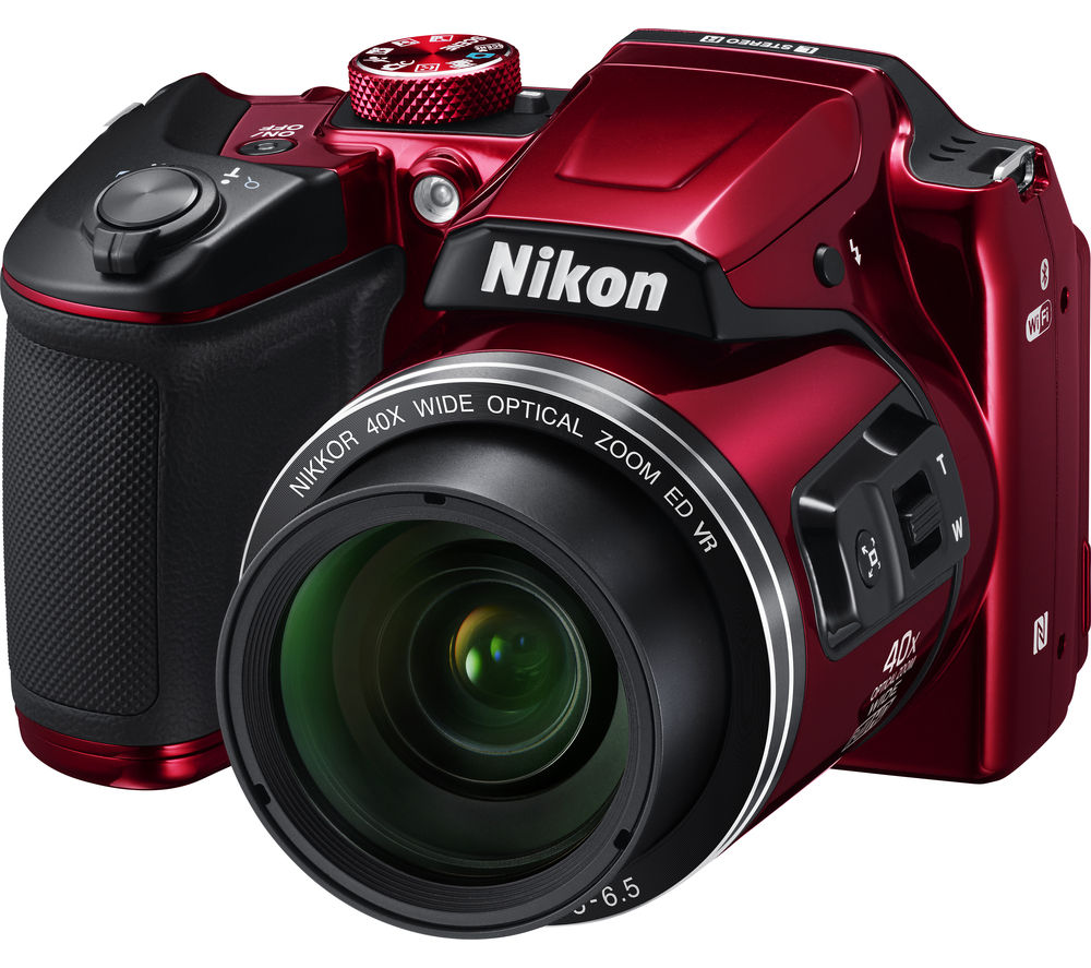 NIKON COOLPIX B500 Bridge Camera - Red + Extreme Plus Class 10 SD Memory Card Twin Pack - 16 GB + Compact System Camera Case - Black