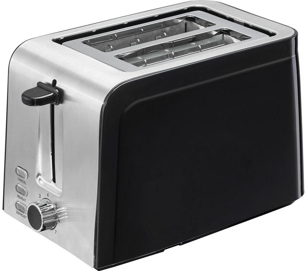 LOGIK L02TSS17 2-Slice Toaster - Black & Stainless Steel