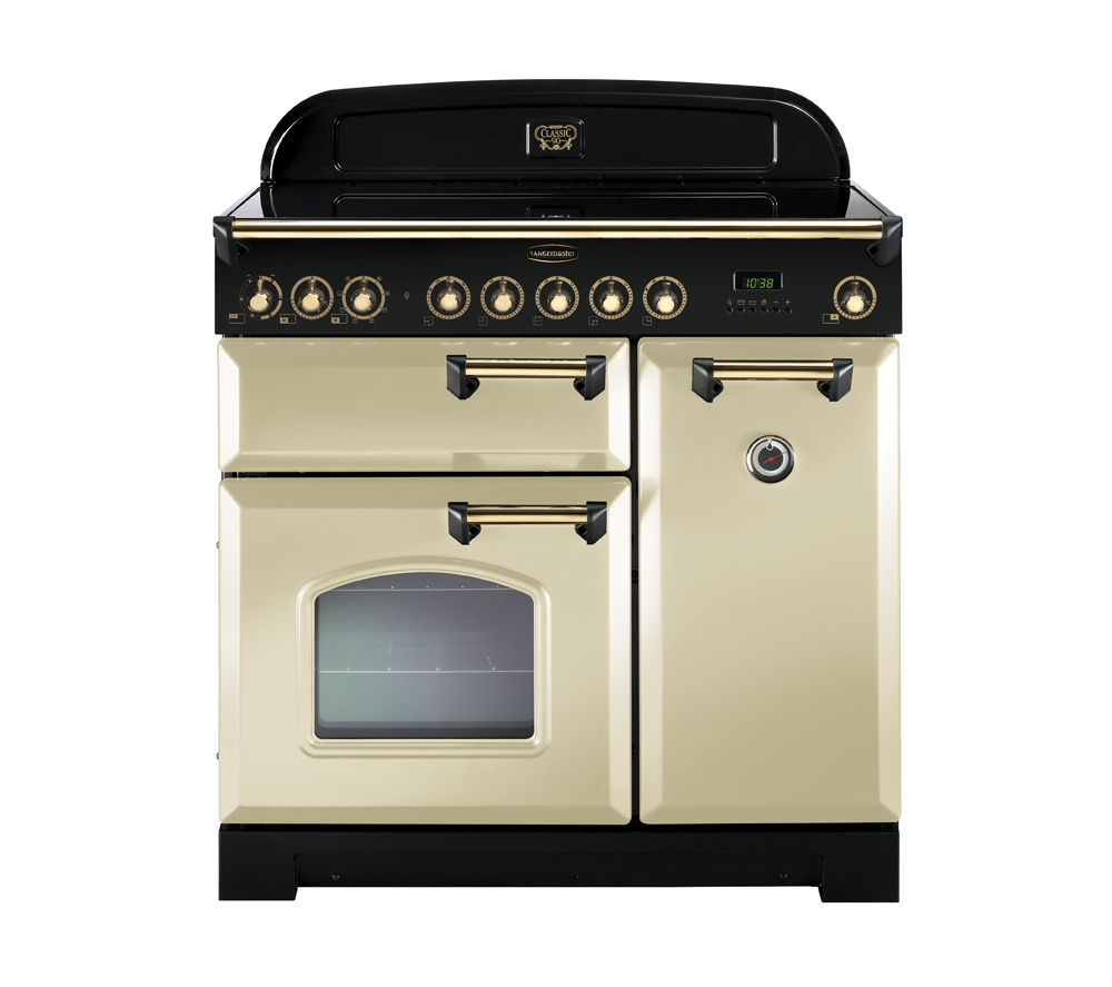 RANGEMASTER  Classic Deluxe 90 Electric Induction Range Cooker  Cream & Brass Cream