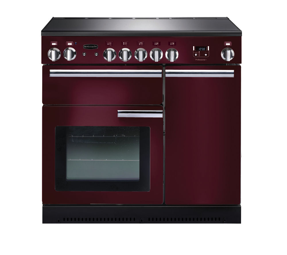 RANGEMASTER  Professional 90 Electric Induction Range Cooker  Cranberry & Chrome Cranberry