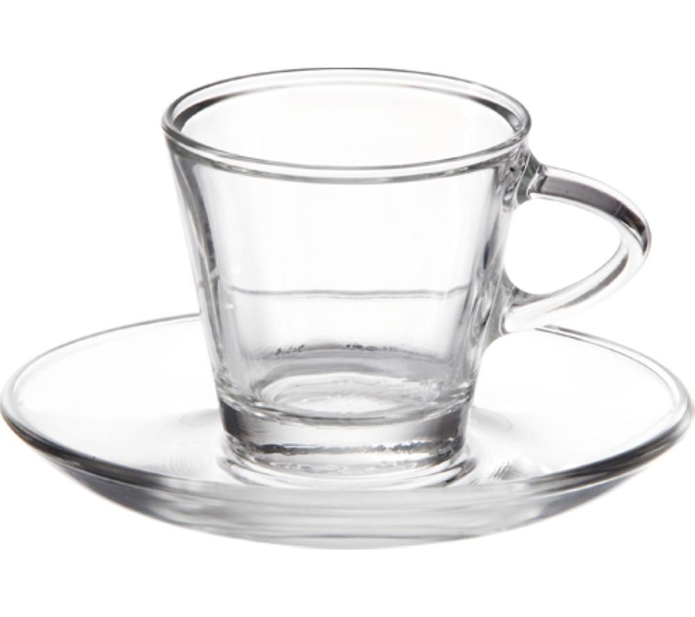 Image of EDDINGTONS 47122303 Clear Espresso Glasses & Saucers - Set of 2