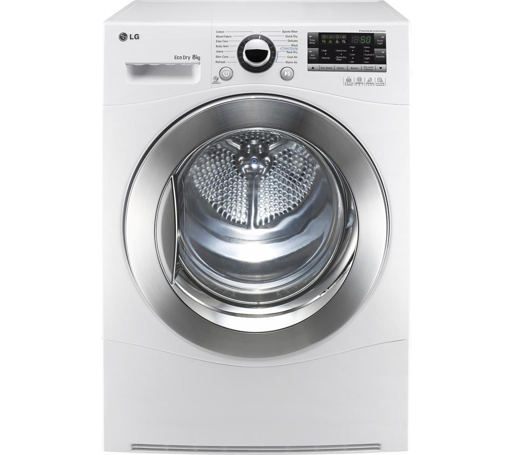 Image of LG RC8055AH2Z Heat Pump Condenser Tumble Dryer - White, White