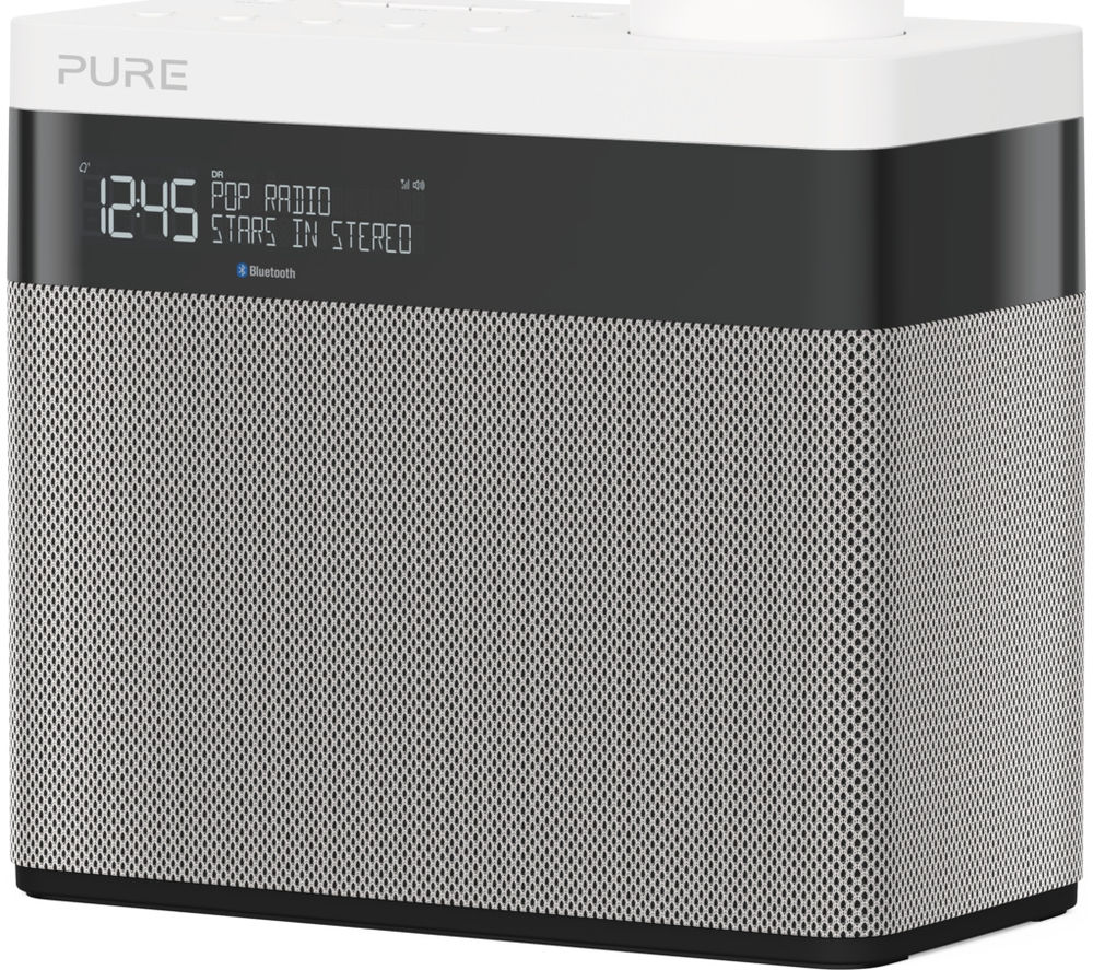 PURE Pop Maxi Portable DAB+/FM Bluetooth Clock Radio – Grey & White