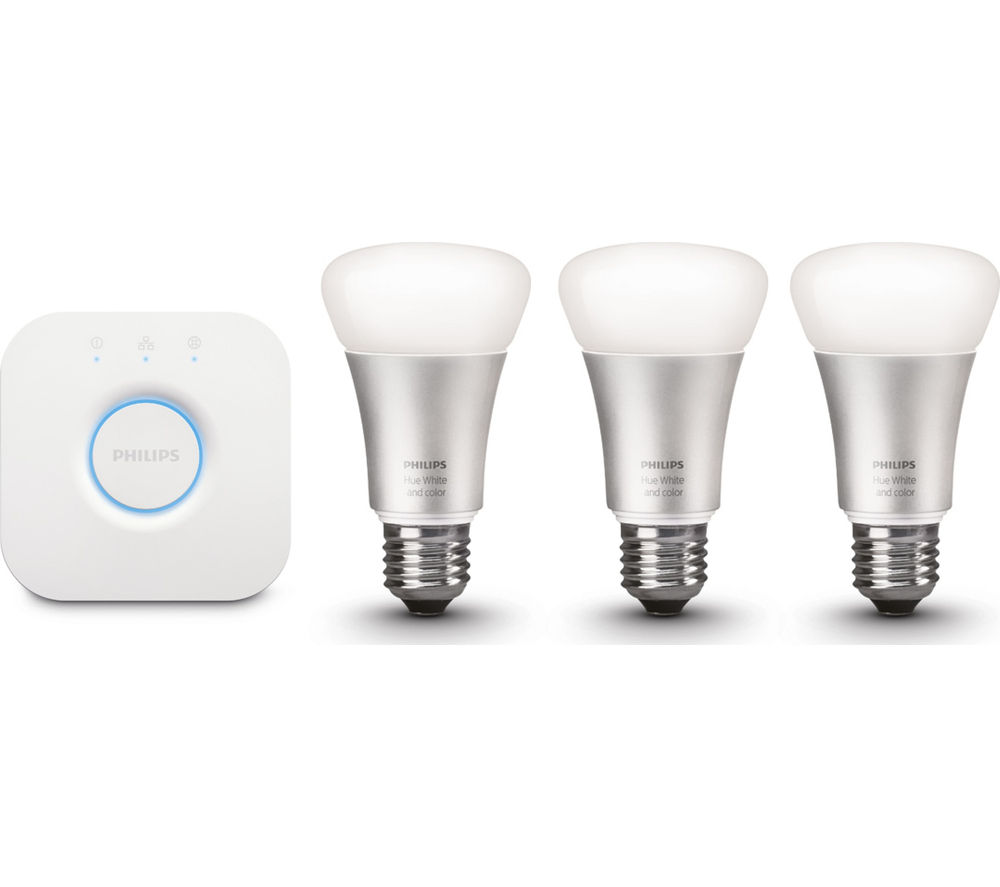 philips hue wireless bulbs starter kit e27 deals pc world. Black Bedroom Furniture Sets. Home Design Ideas